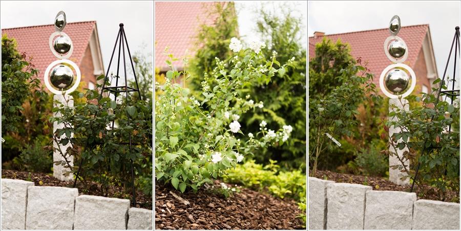 Blog + Fotografie by it's me | fim.works | Ein Garten im Norden | Collage vom Hochbeet mit Skultur und Obelisk