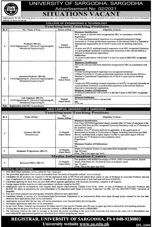 University of Sargodha Jobs 2021 Advertisement No. 1 & 2 - Latest US Jobs 2021 - Sargodha University Jobs 2021