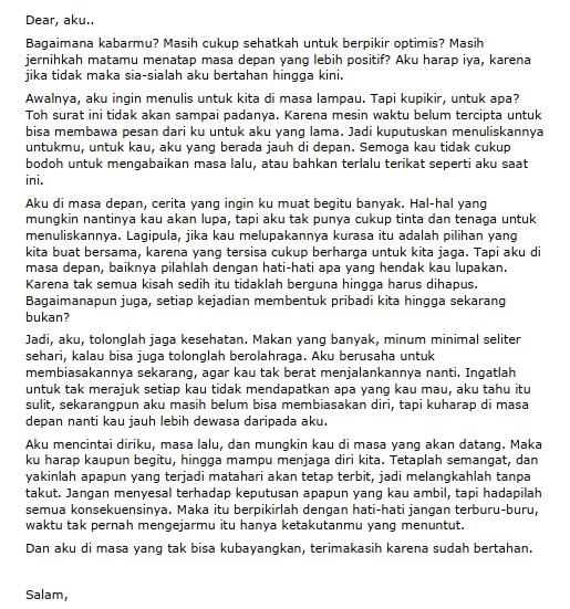 Contoh Surat Pribadi Singkat untuk Diri Sendiri (via: fimela.com)