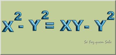 Parte da demonstração de que dois é igual a um. Quadro mostrando que x ao quadrado - y ao quadrado é igual xy menos y ao quadrado