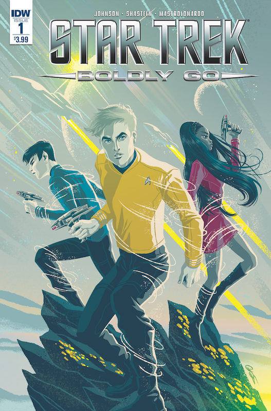 Star Trek: Boldly Go #1  Story: Mike Johnson  Art: Tony Shasteen  Colors: Davide Mastrolonardo Letters: AndWorld Designs. Star Trek created by Gene Roddenberry.