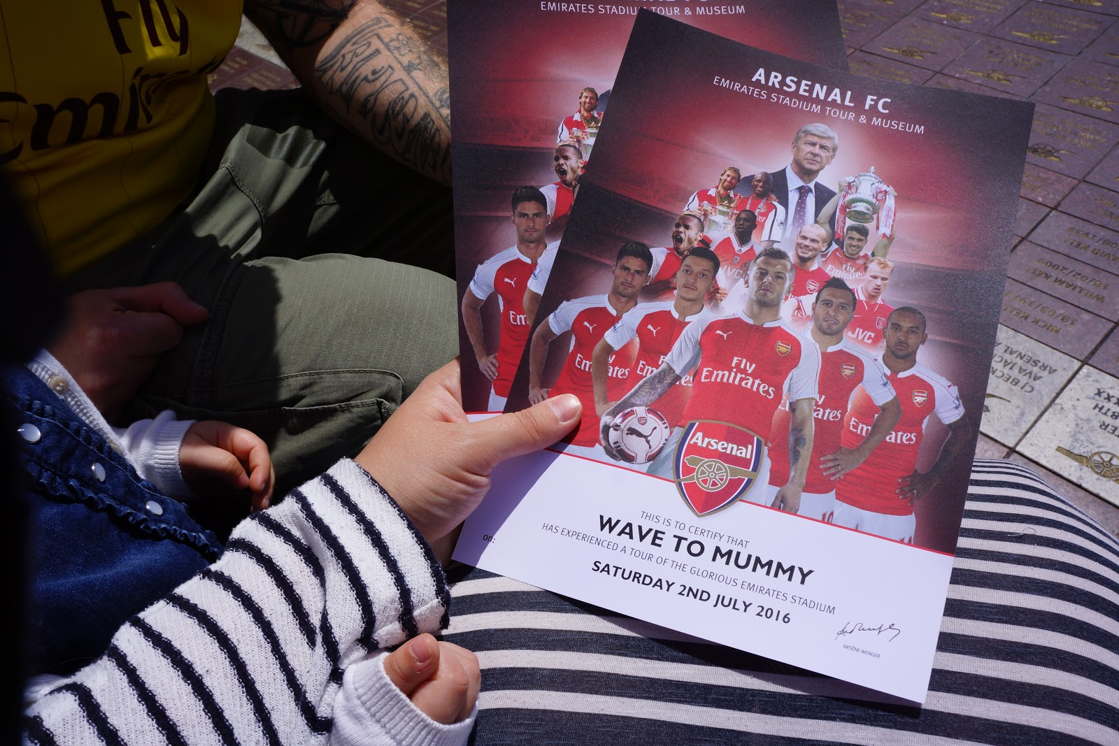 Arsenal Stadium Tour certificate for Wave to Mummy