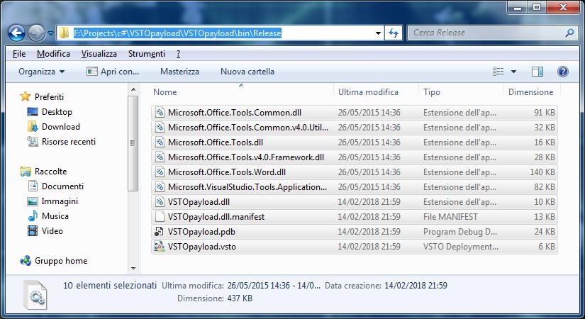 File componente aggiuntivo VSTO