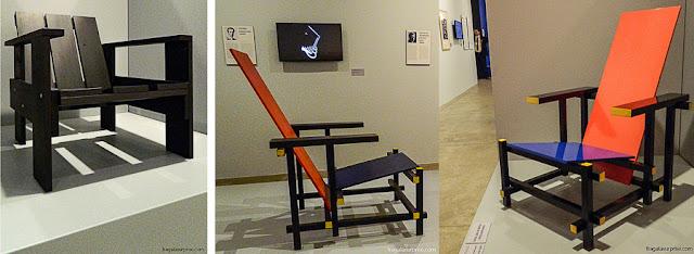 """Obras do  designer Gerrit Rietveld inspiradas em Mondrian, como a Cadeira Vermelho Azul, também chamada de """"Cadeira Mondrian"""""""