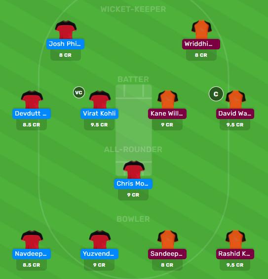 rcb vs srh drean11 team for today's match