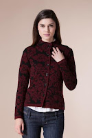 Jacheta grena din tricot cu imprimeu floral