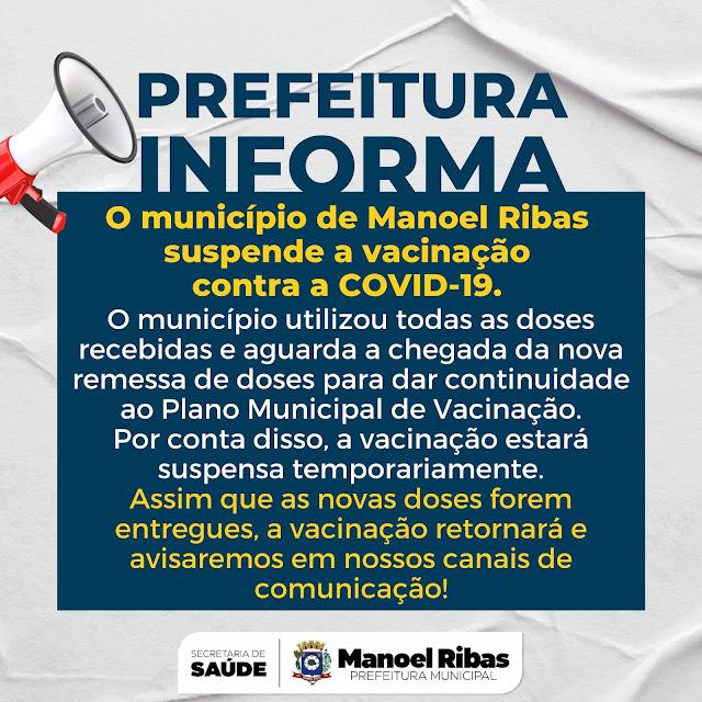 Manoel Ribas: Município suspende vacinação contra a COVID-19