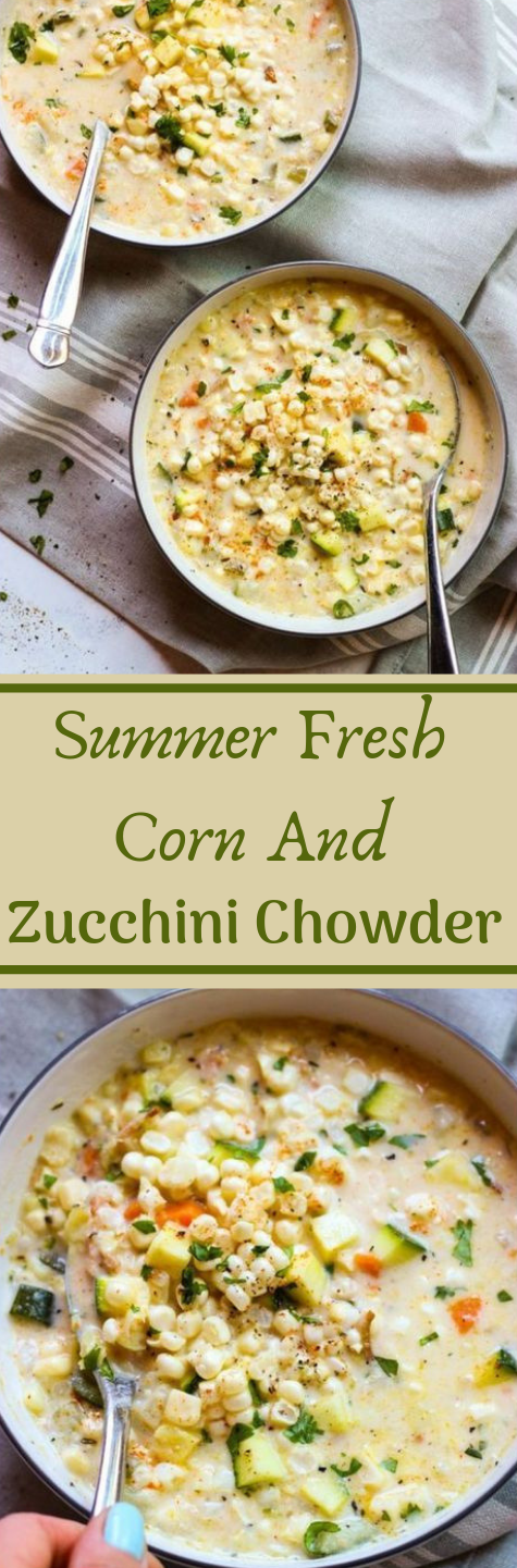 SUMMER FRESH CORN AND ZUCCHINI CHOWDER #vegetarian #vegan #whole30 #cauliflower #yummy