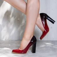 Pantofi dama Fabiola rosu si negru cu toc gros • modlet