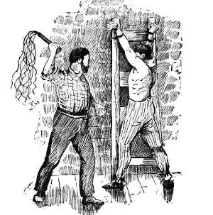 Sketch of a 19th-century flogging.