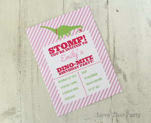 Girl Dinosaur Invitation