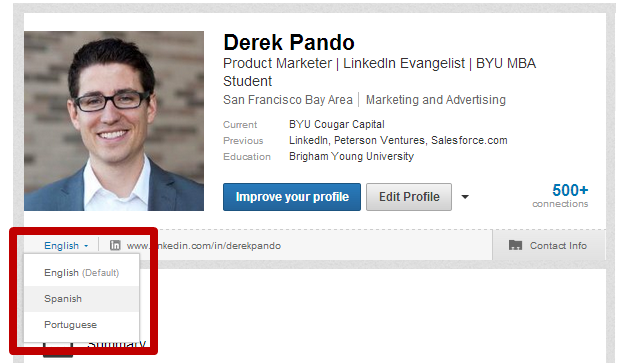 An example of a LinkedIn Language Profile Selector