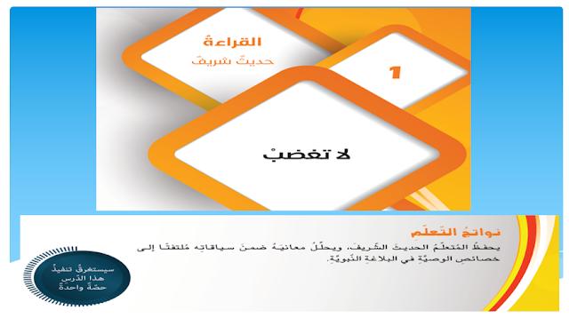 حل درس لا تغضب للصف التاسع اللغه العربيه