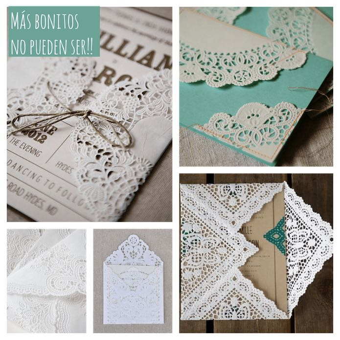 Invitaciones decoradas con blondas de papel
