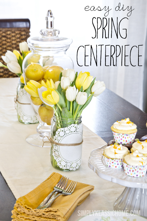 How to Create an Easy Spring Centerpiece {On the Cheap} www.simplyklassichome.com