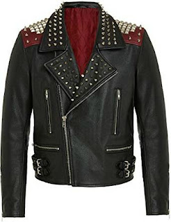 High quality studded real leather punk rock jacket