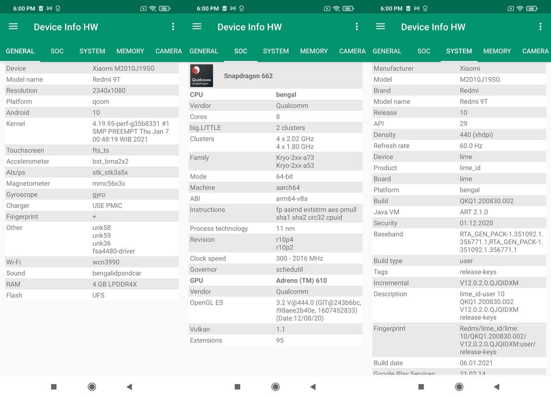 Device Info HW Xiaomi Redmi 9T
