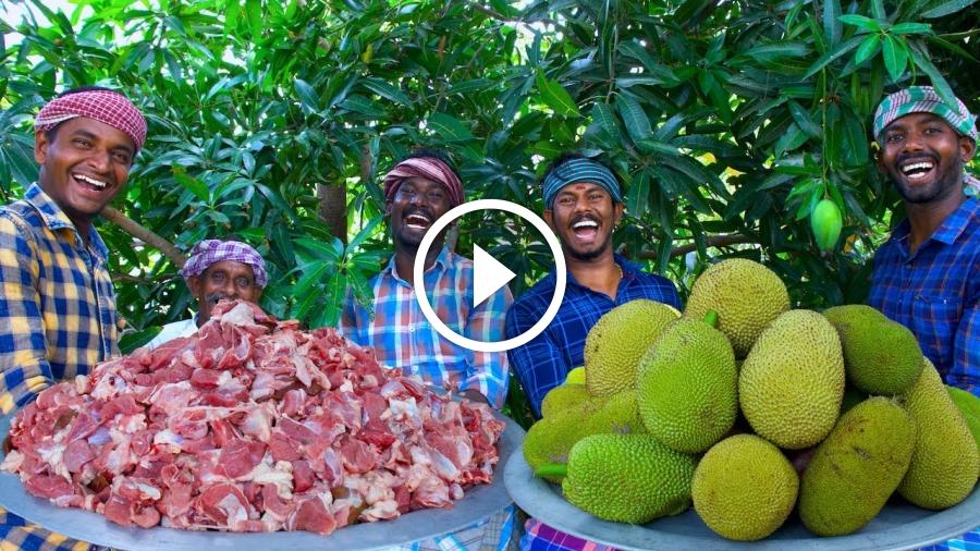 JACKFRUIT MUTTON | Raw Jackfruit Mutton Gravy Cooking in Village | Spicy Mutton Recipe Mutton Curry