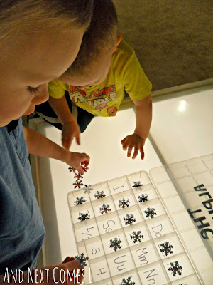 Matching and sorting alphabet snowflakes on the light table from And Next Comes L