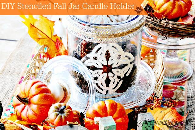 Paint-stencil-metal-ribbon-pinecones-vignette-pumpkin-basket-athomewithjemma