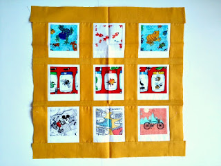 donated polaroid photo blocks for cancer relief quilt