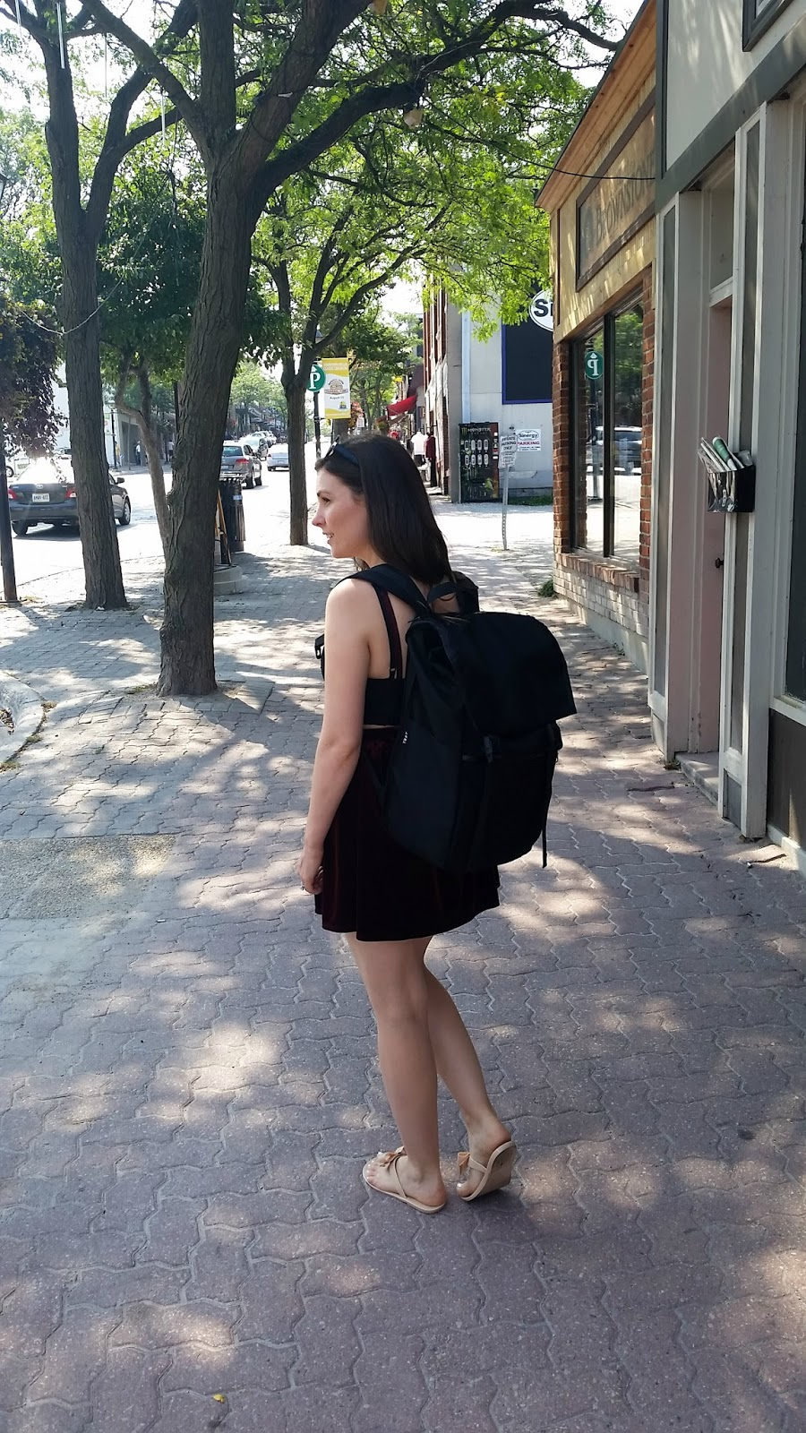 YNOT backpack, Forever 21 crop top and mini skirt, Topshop Sun Glasses