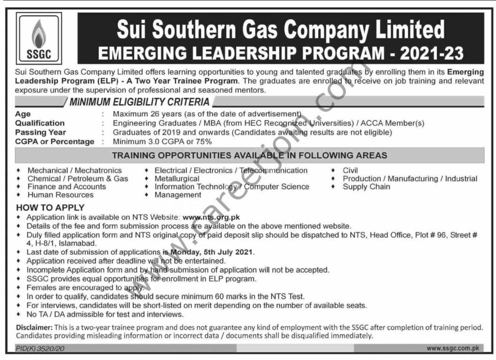 www.ssgc.com.pk Jobs 2021 - Sui Southern Gas Company Limited SSGC Emerging Leadership Program (ELP) 2021-2023 in Pakistan