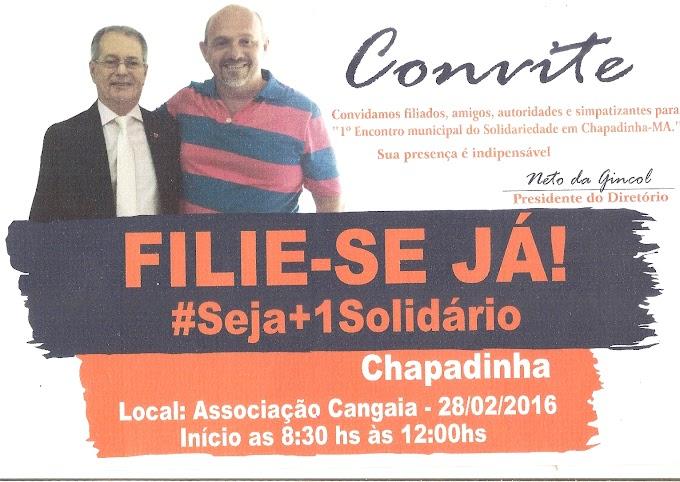 Convite: Solidariedade realiza 1º encontro Municipal em Chapadinha, neste domingo (28).