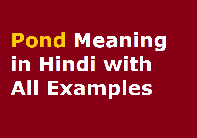 Pond Meaning in Hindi with All Examples