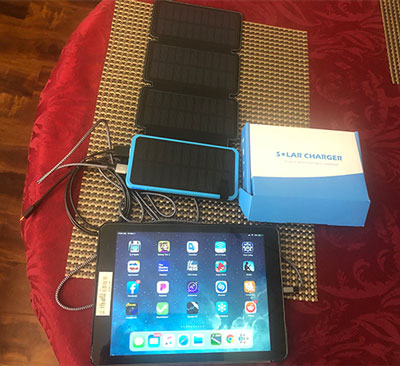 Low cost solar charging station with battery (Hiluckey 2500 mAH) for phones and Ipads (Source: Palmia Observatory)