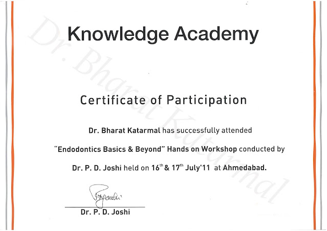 Certificate of Hands on workshop on Endodontics Basics and Beyond Level 2 under Dr PD Joshi