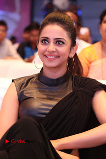 Actress Rakul Preet Singh Stills in Black Saree at Rayudu Movie Audio Launch  0138.JPG