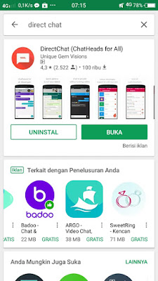 Bubble chat dan chat head pada whatsapp