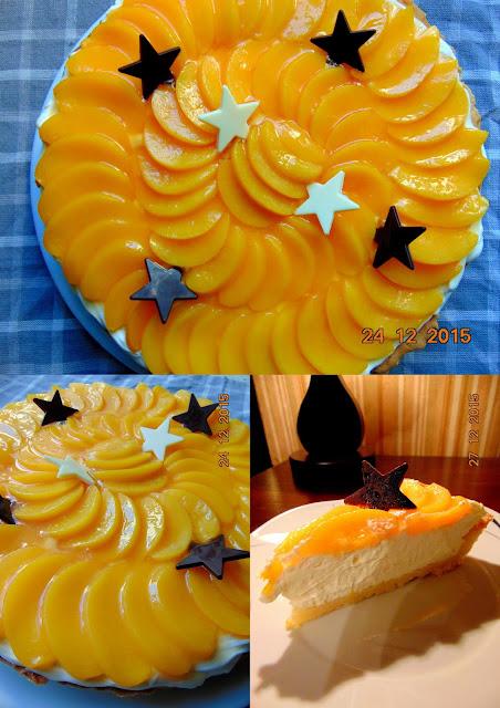 Tarta z kremem mascarpone i brzoskwiniami
