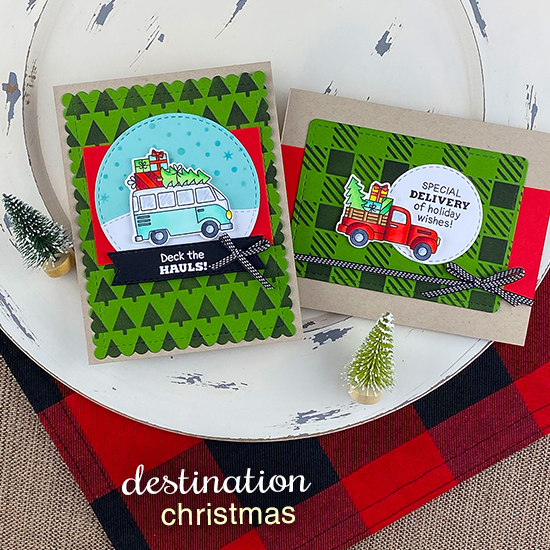 Truck and van carrying Christmas trees Cards by Jennifer Jackson | Christmas Delivery Stamp Set, Tiny Trees Stencil, Gingham Stencil and die sets by Newton's Nook Designs #newtonsnook #handmade