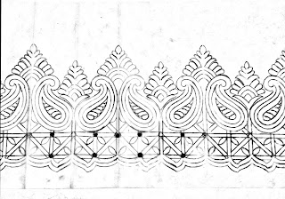Banarasi saree design drawing/banarasi saree cutwork border design Drawing with pencil/border khaka drawing.