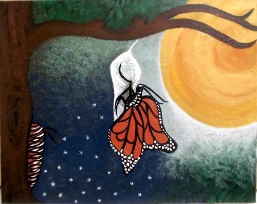 linda borboleta saindo do casulo, símbolo da metamorfoseda vida.