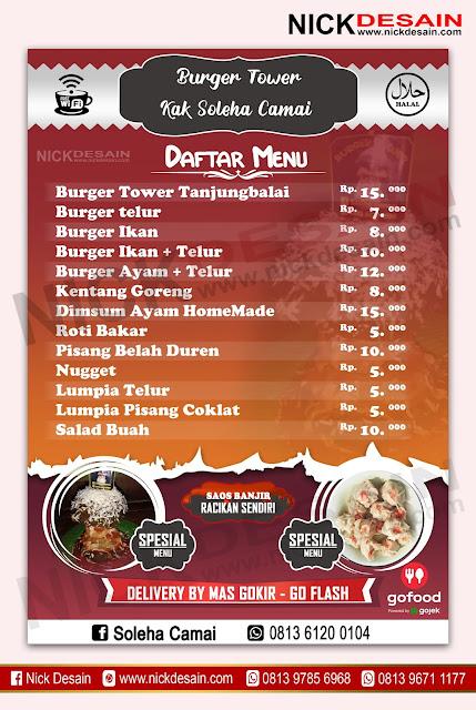Contoh Desain List Menu / Buku Menu/ Daftar Menu Burger Tower | Percetakan Murah Tanjungbalai