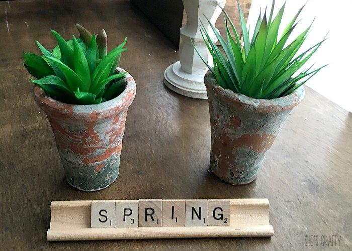 green faux succulents, spring scrabble letters