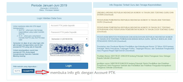 login infogtk dengan account ptk