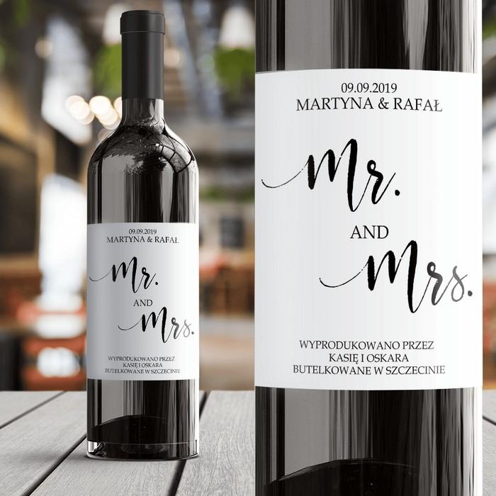 ETYKIETA na wino Mr.&Mrs. prezent dla Pary Młodej