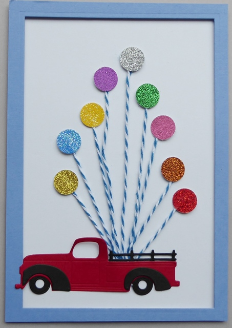 Greetings Todays Design Was Really Quick I Just Punched Some Circles Attached Them To String And Die Cut The Truck For My Masculine Card
