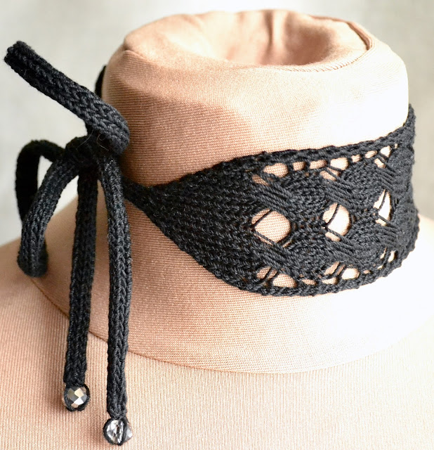 Rune-Inspired Knitwear Design Jera Rune Lace and Cable Choker Knitting Pattern