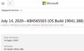 Pagina sito web Supporto di Microsoft Windows update KB4565503