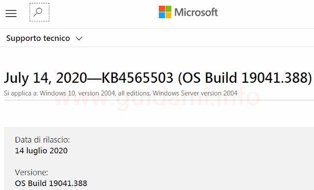 Pagina sito web Supporto di Microsoft Windows update KB4565503