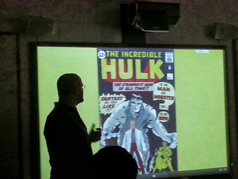 "Lance Eaton presenting ""Hyde'ous Evolution: Exploring  How the Dwarfish Hyde Became the Monstrous Hulk  in the Classroom"" at NEPCA 2013."