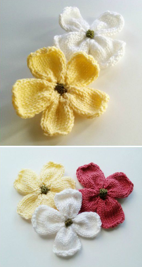 Knitted Dogwood Blossoms - Free Pattern