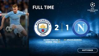 Manchester City Menang Tipis atas Napoli - Highlights