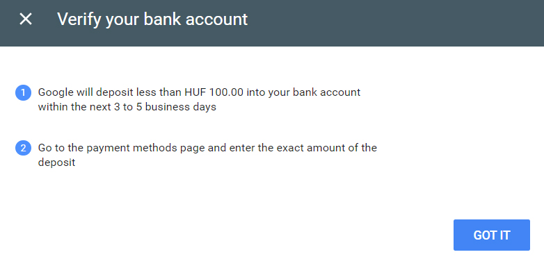 Verify your AdSense Bank account