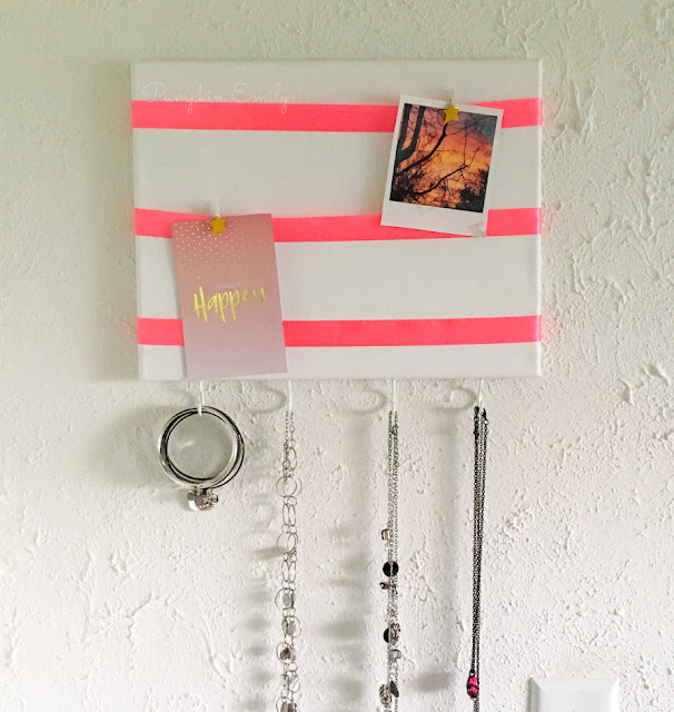 DIY Canvas Jewelry Organizer with a Memo Board